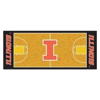 Fanmats Machine-made University of Illinois Gold Nylon Basketball Court Runner (2'5 x 6')