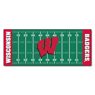 Fanmats Machine-made University of Wisconsin Green Nylon Football Field Runner (2'5 x 6')