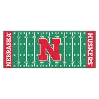 Fanmats Machine-made University of Nebraska Green Nylon Football Field Runner (2'5 x 6')