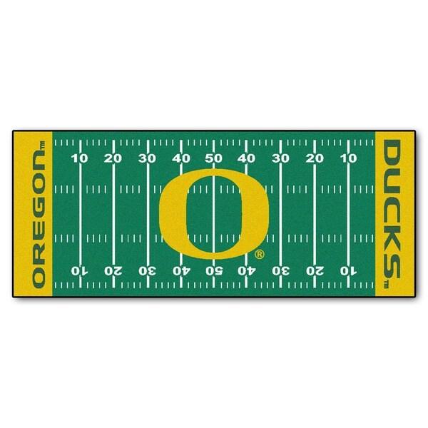 Fanmats Machine-made University of Oregon Green Nylon Football Field Runner (2'5 x 6')