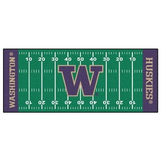 Fanmats Machine-made University of Washington Green Nylon Football Field Runner (2'5 x 6')