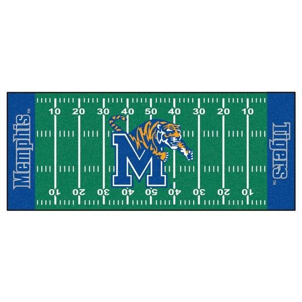 Fanmats Machine-made University of Memphis Green Nylon Football Field Runner (2'5 x 6')