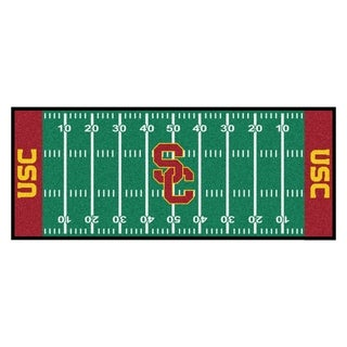 Fanmats Machine-made University of Southern California Green Nylon Football Field Runner (2'5 x 6')