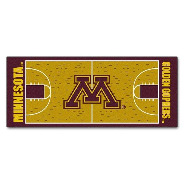 Fanmats Machine-made University of Minnesota Gold Nylon Basketball Court Runner (2'5 x 6')