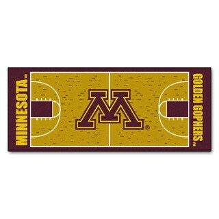 Fanmats Machine-made University of Minnesota Gold Nylon Basketball Court Runner (2'5 x 6')