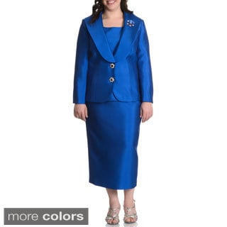 Giovanna Collection Women's Plus Size Rhinestone Pin Broach 3-piece Skirt Suit