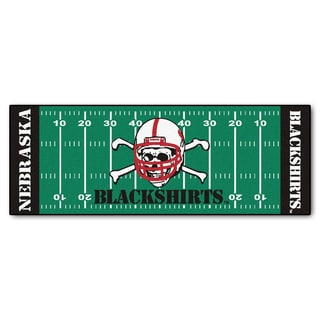 Fanmats Machine-made University of Nebraska Blackshirts Green Nylon Football Field Runner (2'5 x 6')