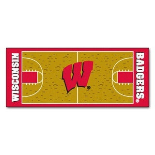 Fanmats Machine-made University of Wisconsin Gold Nylon Basketball Court Runner (2'5 x 6')