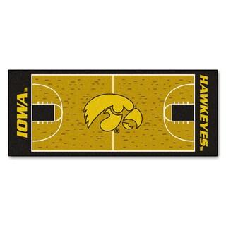 Fanmats Machine-made University of Iowa Gold Nylon Basketball Court Runner (2'5 x 6')