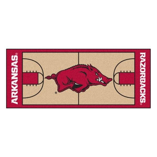 Fanmats Machine-made University of Arkansas Gold Nylon Basketball Court Runner (2'5 x 6')