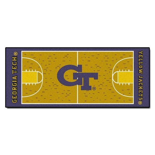 Fanmats Machine-made Georgia Tech Gold Nylon Basketball Court Runner (2'5 x 6')