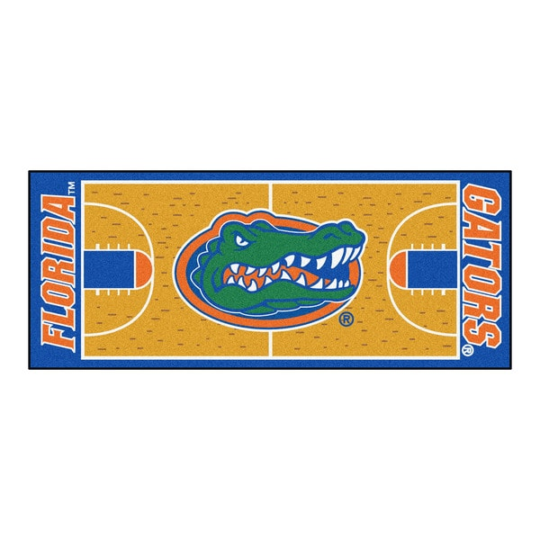 Fanmats Machine-made University of Florida Gold Nylon Basketball Court Runner (2'5 x 6')