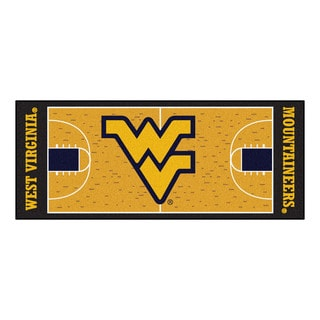 Fanmats Machine-made West Virginia University Gold Nylon Basketball Court Runner (2'5 x 6')
