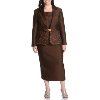 Giovanna Collection Women's Plus Rhinestone and Floral Embellished 3-piece Skirt Suit (Option: Chocolate-24W)