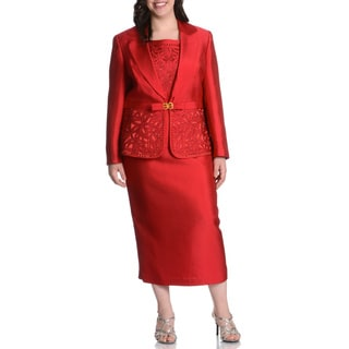 Giovanna Collection Women's Plus Rhinestone and Floral Embellished 3-piece Skirt Suit
