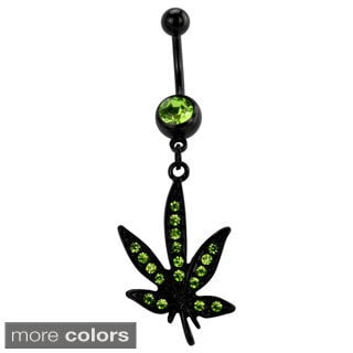 Supreme Jewelry Anodized Black Metal Crystal Pot Leaf Belly Ring
