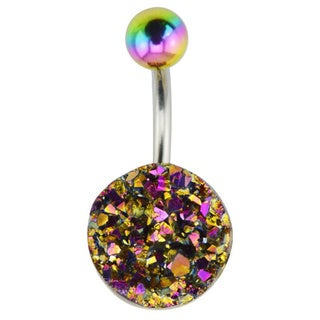 Supreme Jewelry 14G Unique Geode Rock Belly Ring