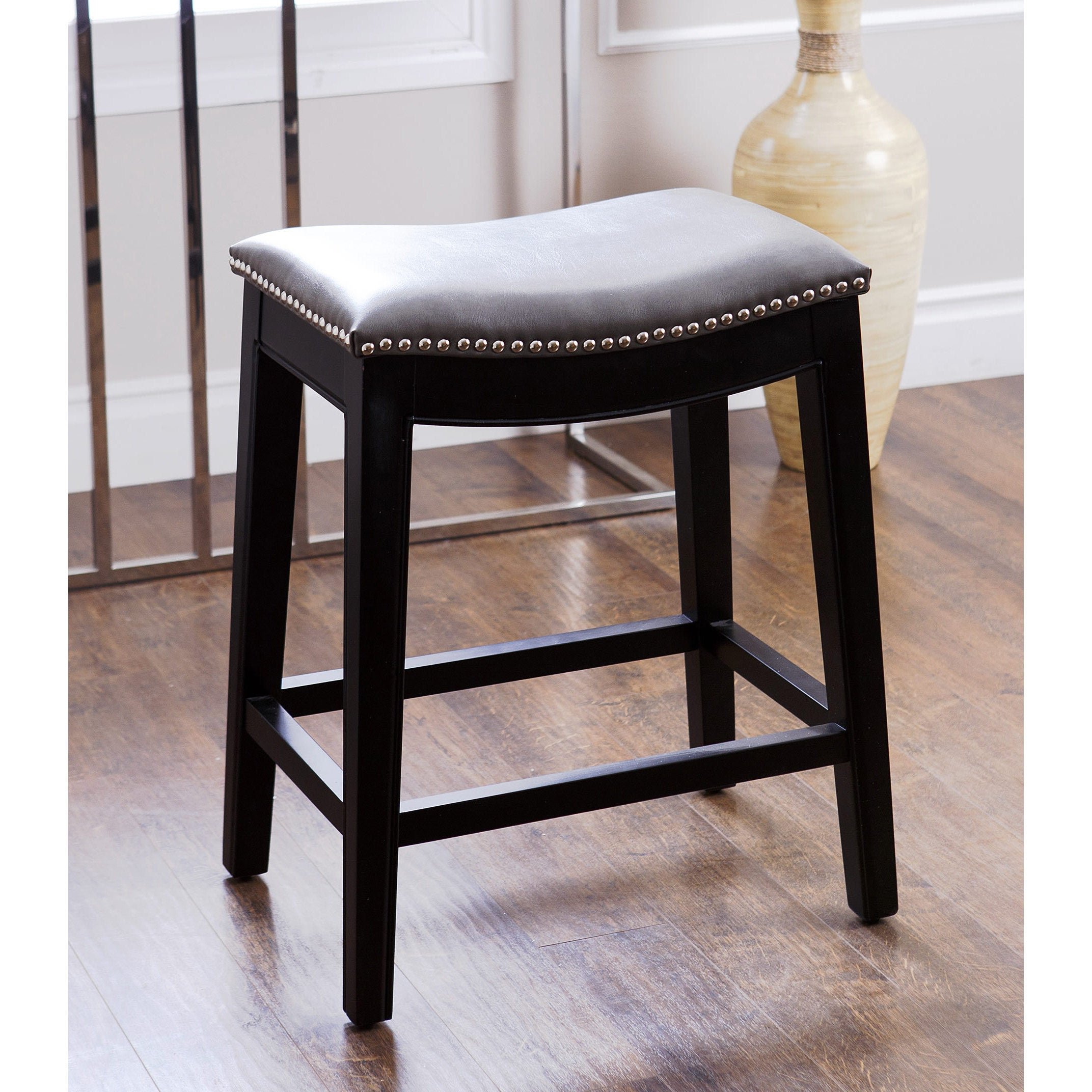 Abbyson Rivoli Grey Leather Nailhead Trim Counter Stool Ebay