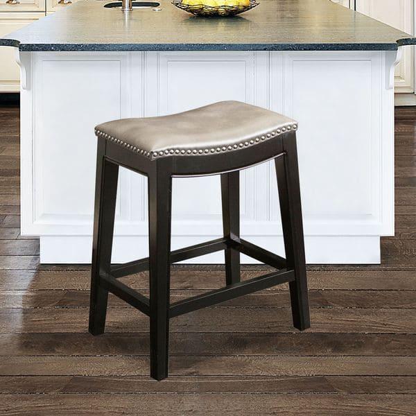 Magnificent Shop Abbyson Rivoli Grey Leather Nailhead Trim Counter Stool Uwap Interior Chair Design Uwaporg