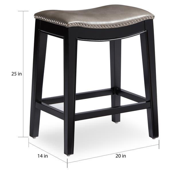Wondrous Shop Abbyson Rivoli Grey Leather Nailhead Trim Counter Stool Uwap Interior Chair Design Uwaporg