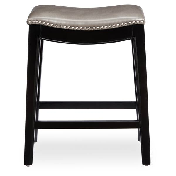 Fabulous Shop Abbyson Rivoli Grey Leather Nailhead Trim Counter Stool Uwap Interior Chair Design Uwaporg