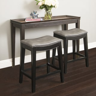ABBYSON LIVING Rivoli Grey Leather Nailhead Trim Counter Stool (As Is Item)