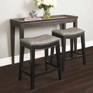 Abbyson Rivoli Grey Leather Nailhead Trim Counter Stool
