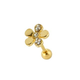 Supreme Jewelry Anodzied Goldtone Flower Tragus Earring