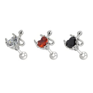 Supreme Jewelry 3-pack Bad Girl Heart Tragus Earrings