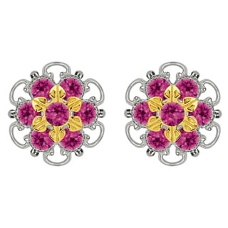 Lucia Costin Gold Over Sterling Silver Fuchsia Crystal Earrings