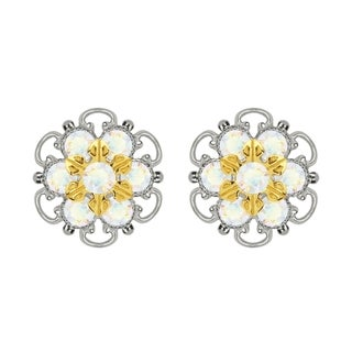 Lucia Costin Gold Over Sterling Silver White Crystal Earrings