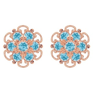 Lucia Costin Gold Over Silver Light Blue Crystal Earrings