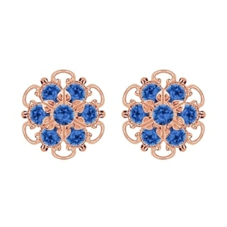 Lucia Costin Gold Over Silver Blue Crystal Earrings