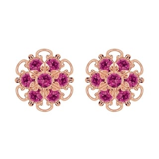 Lucia Costin Gold Over Silver Fuchsia Crystal Earrings
