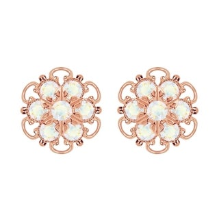 Lucia Costin Gold Over Silver White Crystal Earrings