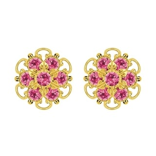 Lucia Costin Gold Over Silver Pink Crystal Stud Earrings
