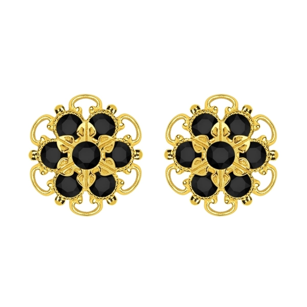 flower v new crystal for earrings black color a sonao jewelry fashion vintage stud cz women stones earring gold big net