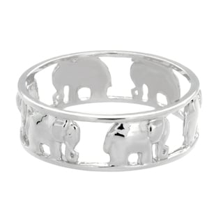 Sterling Essentials Silver Elephants Midi Ring