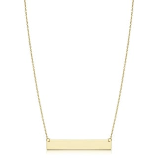 10k or 14k Gold Engraveable Bar Cable Chain Necklace (18 inch)