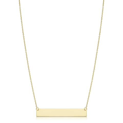 c14374e7e 10k or 14k Gold Engraveable Bar Cable Chain Necklace (18 inch)