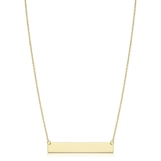 Fremada Yellow Gold Italian 6-mm High Polish Engraveable Bar Necklace