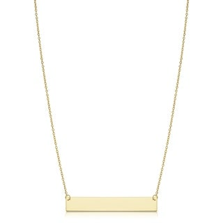 Fremada Gold High Polish Engraveable Bar Necklace