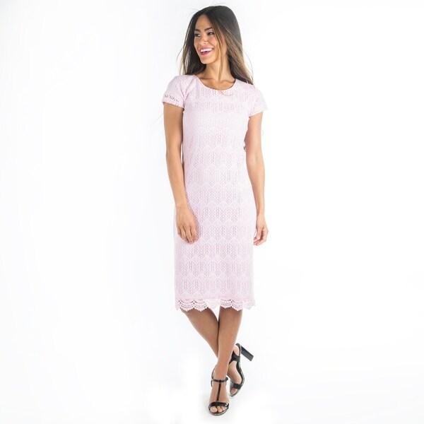 6b1e88e7ed Shop DownEast Basics Women's Lilac Lace Peaceful Dress - Free ...