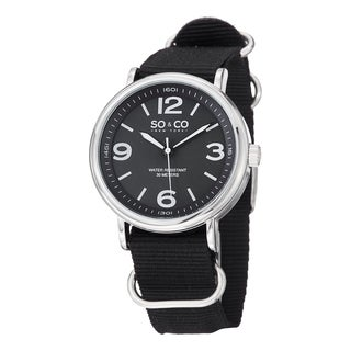 SO&CO New York Men's SoHo Quartz Watch with Black Leather Strap