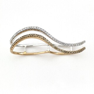 Diamonds for a Cure 18k Two-tone Gold 5/8ct TDW Champagne and White Diamond Double Finger Wave Ring