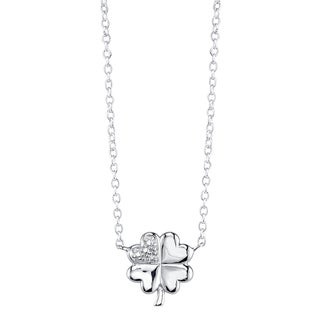 Sterling Silver Clover Necklace with Diamond Accent