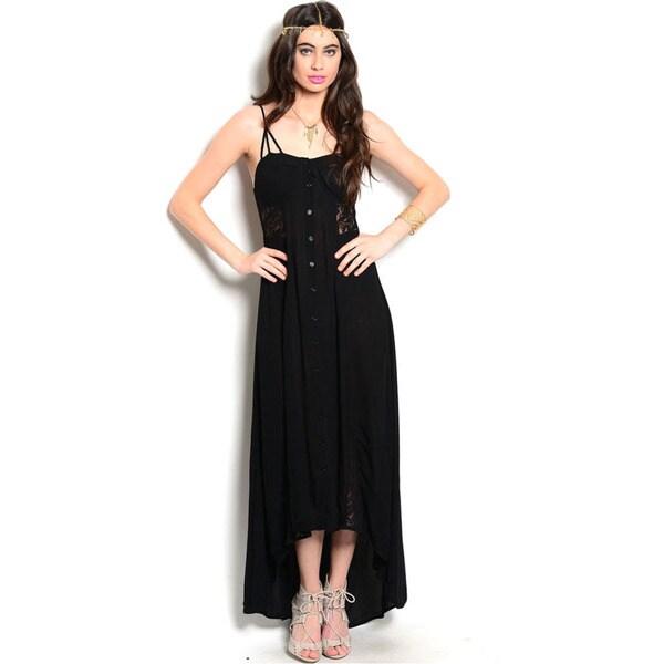 Shop The Trends Women's Spaghetti Strap Hi-Low Lace Inserts Woven Maxi Dress
