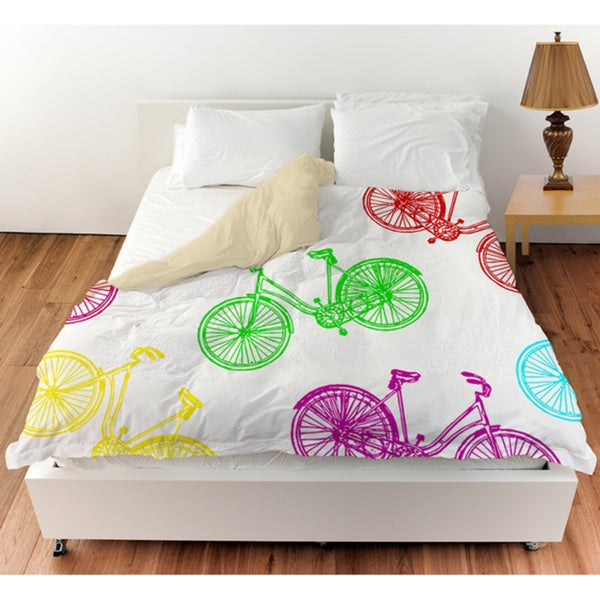 Neon Party Bike Pattern Duvet Cover