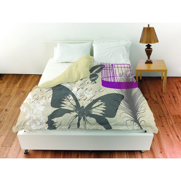 Butterfly Collage Burlap Duvet Cover