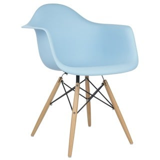 Retro Eames Style Molded Plastic Wood Eiffel Legs Blue Armchair (China)